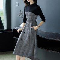Élégant coréenne femme plaid robe midi robe décontracté dames wey wear ceinture mince patchwork une ligne robes japonais vêtements été