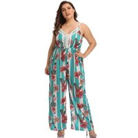 Women's Jumpsuits & Rompers Summer High Waist Pants Fashion Printing Sexy Wide Leg Casual Trousers Loose Sling Ladies Jumpsuit 4XL