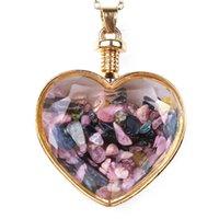 Crystal Heart Colgante Collares Party Supplies Damas Drifting Deseando Botella de cristal Collar para mujer Joyería de moda GWC7511