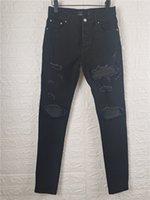 LUSKURYS Designer Mens Jeans Stile francese Moda Black Slim-gamba di alta qualità Skinny Split Pants Strappato Pantaloni strappati Street Arrival Biker Denim Dimensione USA 28-40