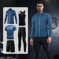 Men's Tracksuits Tracksuit 5 Piece Compression Tights Sports T-shirt Coat Set Gym Clothing Workout Jogger Running Suit Trainning Sportswear
