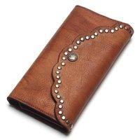 지갑 손으로 문질러 컬러 빈티지 클러치 네일 가죽 여성의 지갑 긴 디자인 대용량