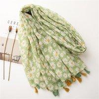 Scarves 2021 Fashion Green Floral Tassel Viscose Shawl Scarf Lady High Quality Wrap Pashmina Stole Bufanda Casual