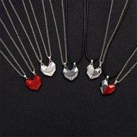 2Pcs set Minimalist Lovers Matching Friendship Heart Pendant Couple Magnetic Distance Faceted Pendants Necklace Jewelry
