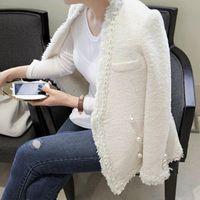 Damskie Garnitury Blazers Europejski White Biały Krótki Płaszcz Kobiet Mody Modele Grube Długie Rękaw Panie Temperament Mały Pachnący Wiatr Jacke