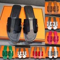 패션 H Womens 가죽 샌들 Oran Cloth Izmir 여성 디자이너 슬립 신발 해변 럭셔리 핸드백 팔찌 숙녀 플랫 슬라이드 헤르메 슬리퍼