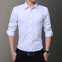 Men's Dress Shirts High Quality Solid Long Sleeve Men Autumn Fashion Designer Shirt Non Iron Slim Fit Business S GTXP