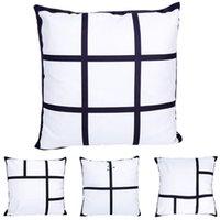 Funda de almohada Sublimación Espacio en blanco Panel DIY Cojín Funda 18 x 18 pulgadas Panel de panel Funda de almohada Funda de almohada en blanco No hay almohada Insertar BWB10893