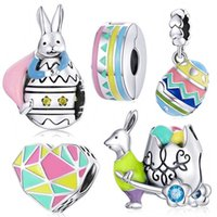 2021 New 925 Sterling Silver Easter Mr. Rabbit Colorful Egg Charm Pendant fit Europe Bracelet Woman DIY Bead Jewelry Making