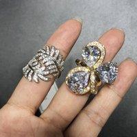 Rotatable big rhinestone Rings finger rings Japan and South Korea Trend Zircon Heart Shape New Women Rings Micro Inlay DFF4313