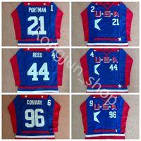 Mighty Ducks D2 Movie Team USA Hockey Jerseys 21 Dean Portman 44 Fulton Reed 96 Charlie Conway Jersey Mäns 100% Stitched Broderi Shirt