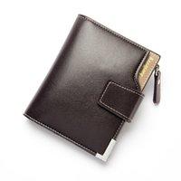 Men's short bags casual wallets vertical buckle multi-function zipper coin purse document bag
