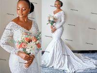 African Plus Size Wedding Dresses 2021 Long Sleeve Solid Lace Applique Arabic Aso Ebi Mermaid Garden Church nerigania Bridal Dress