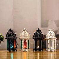European Moroccan glass candlestick metal wind lamp creative aromatherapy candle cup iron decoration ornaments Candle Holders T2I52169