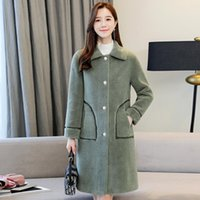 Women's Wool & Blends 2021 Winter Long Jacket For Women Solid Thicken Office Ladies Outwear Loose Turn Down Collar Single Breasted Casual Co