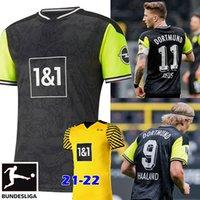 Haaland Reus Borussia 21 22 Dortmund 4th 축구 유니폼 2021 2022 축구 셔츠 Bellingham Sancho Hummels Brandt Maillot de Foot Men + Kids Kit