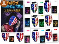 Halloween Mask LED Light Up Glowing Party Funny Masks The Purge Election Year Great Festival Cosplay Costume Supplies Coser face sheild us Flag 2x