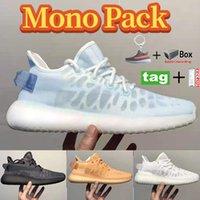 Kutu Mono Paketi V2 Erkekler Kadınlar Koşu Ayakkabıları Buz Mist Kil Kilitli Beyaz Sneakers Moda Yaz Parti Alışveriş Eğitmenleri 36-47