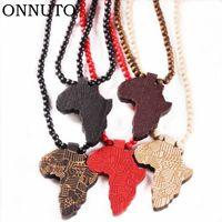 Mode Holz machte stilvolle Afrika Halskette Gold Farbe Anhänger Kette Afrikanische Karte Geschenk für Männer Frauen Trendy Schmuck Zubehör Halsketten