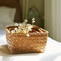 Jewelry Pouches, Bags Handmade Straw Dried Flower Fruit Pot Basket Rattan Storage Box Necklace Earring Candy Earphone Organizer Container