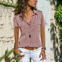 Women Casual Solid Short Sleeve Blouse Lapel Cotton Womens Shirts blouses Shirt Top blusas de mujer de Plus Size High quality lapel neck