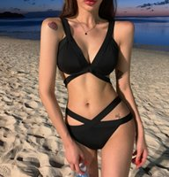 Sexy Drawstring Bandage Bikini Set 2021 Swimwear Women 2 Pieces Set Solid Swimsuit Female Halter Beach Wear Bathing Suit
