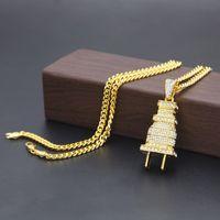 Mens Fashion Hip Hop Necklace Gold Cuban Link Chain Iced Out Plug Pendant Necklace For Men