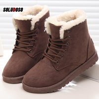 Boots Classic Women Winter Suede Ankle Snow Female Warm Fur Plush Insole High Quality Botas Mujer Lace-Up