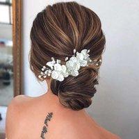 Leiin Bridal Crystal Pearl Flower Clip de pelo Estilo Floral Barrette Joyería de novia Joyería Dama de honor Accesorios de boda 210616