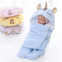 Blankets & Swaddling Winter Thick Girls Swaddle Wrap 65X75cm Baby Sleeping Bags Infant Boy Velvet Animal 0-3months