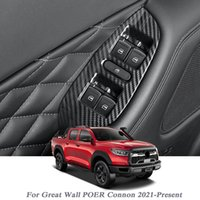 4PCS Car Styling For Great Wall POER Connon 2021-Present Internal Door Window Lift Switch Sequin Sticker Interior Frame Auto Accessory