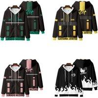 Demon Slayer: Kimetsu No Yaiba Cosplay Costume Kamado Tanjirou Nezuko Agatsuma Zenitsu Unisex 3D Hoodie Zipper Hooded Sweatshirt