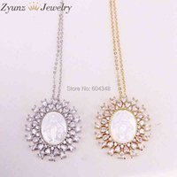5 Strands ZYZ323-8868 Gold  Silver Color Crystal Zircona Pendant, Virgin Mary mother of pearl shell pendant Necklace