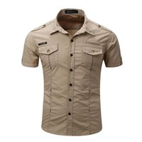 Men's Casual Shirts High Quality Mens Cargo Shirt Men Solid Short Sleeve Work With Wash Standard US Size 100% Cotton