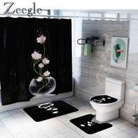 حصير الحمام Zeegle دش الستار للماء الحمام المضادة للانزلاق السجاد مجموعة ماصة المرحاض غطاء حصيرة سجادة