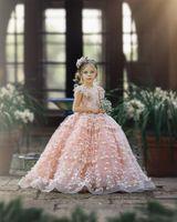 Cute Pink Flower Girl Dresses 3D Floral Appliqued Cap Sleeve Little Kids Wedding Dress Beautiful Girls Pageant Party Gowns