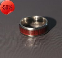 Titanium steel red wood grain ring jewelry men and women silver plated couples