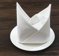 50 cm * 50 cm Plain Bianco Tovagliolo in cotone in cotone Ristorante Casa Tavolo Da Tavolo Tovaglioli Tessuto Tovagliolo da cucina Matrimonio Asciugamano EWB6779