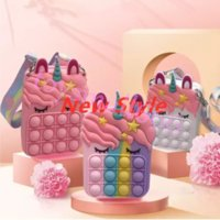 DHL Party Favor Gifts For Girls Women Decompression Fidget Toys Sensory Silicone Push Bubble Stationery Storage Bag Coin Purse