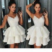 Curto pequenos vestidos de cocktail branco 2019 espaguete cintas vestido de bola camadas lace homecoming vestido mini vestidos de baile para festa de formatura desgaste