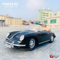 Bburago 124 Porsche 1961 356b simulação liga modelo de carro artesanato decoração coleção ferramentas de brinquedo presente