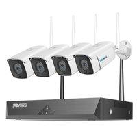 SOVMIKU 1080P Sistema de cámara de seguridad inalámbrica, 8p 4pcs Vigilancia de WiFi al aire libre con visión nocturna, impermeable, alerta de movimiento, acceso remoto, sin disco duro