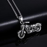 Correntes Personalidade Fantasma Rider Motor Bike Pingente Colar Acessórios Jóias Vintage Gótico Motocicleta Para Homens