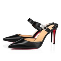 Elegant Brand Women Choc Sandals Shoes Luxury Red Bottom Lock Me Lady Mules Black White Nude Party Wedding Dress High Heels With Box,EU35-44