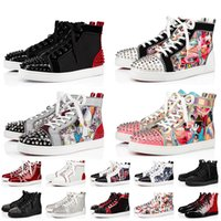 Christian Louboutin Большой размер 47 евро Красные низы Женская мужская дизайнерская обувь Натуральная кожа Шипы Роскошные дизайнерские кроссовки Винтажные с граффити