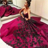 Vendita calda New Black Applique Fushia Lungo Prom Dresses Sweep Train Ball Gown Satin Collo V-Neck Princess Formale Abiti da sera su misura PR114