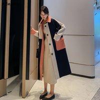 여성용 양모 혼합 모직 코트 우아한 일치하는 가을 드레스는 간단한 포켓 공정한 여성 패션 IU0X