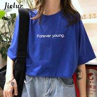 Viola blu mx200721 harajuku allentato casual per sempre giovani lettere lettere t shirt estate hipster coreano via magliette base jielur t-shirt donne