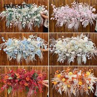 Decorative Flowers & Wreaths Wedding Silk Flower Row Arrangement Arch Backdrop Decor Wall Table Road Lead Party Stage Sisplay Props