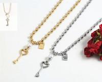 Moda donna uomini argento colore oro in acciaio inox cuore acciaio inox a farfalla serratura tasto rotondo perlina Uno de50 catena gioielli neckalce 210421